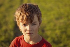 Portrait serious boy in red sweater, Royalty Free Stock Photos