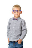 Portrait serious boy wearing shirt glasses and bowtie posing. Educational concept. Isolated over white. Stock Photo