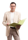 Portrait of serious business man with folder Stock Photos