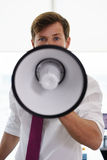 Portrait Serious Business Man With Megaphone In Office Royalty Free Stock Image