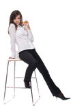 Portrait of serious business woman and alcohol Royalty Free Stock Photography