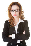 Portrait serious business woman in eyeglasses. Royalty Free Stock Photos
