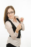 Portrait of a serious business woman with a pen in the hands Royalty Free Stock Image