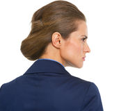 Portrait of serious business woman. rear view Stock Photo
