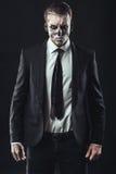 Portrait serious businessman  makeup skeleton Stock Photos