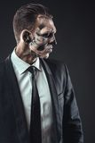 Portrait serious businessman  makeup skeleton Royalty Free Stock Images