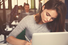 Portrait of a serious businesswoman using laptop in office Stock Photos
