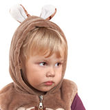 Portrait of serious Caucasian baby girl in bear costume Stock Images