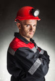 Portrait of serious coal miner Stock Image