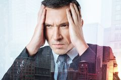 Portrait of a serious concentrated responsible manager Royalty Free Stock Photography