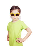 Portrait of a serious cute little girl Stock Image