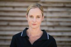 Portrait of serious female jockey Royalty Free Stock Image