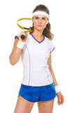 Portrait of serious female tennis player Royalty Free Stock Images