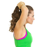 Portrait of serious fitness young woman Stock Photo