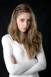 Portrait of the serious girl Stock Images