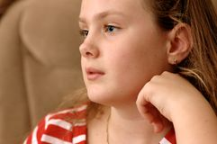 Portrait of serious girl. Royalty Free Stock Images