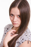 Portrait of serious girl touch the hair Royalty Free Stock Photo