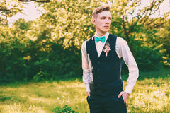 Portrait of serious groom on nature Stock Image
