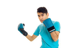 Portrait of serious guy practicing boxing in blue gloves isolated on white background Royalty Free Stock Image