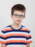 Portrait of serious kid little boy. Royalty Free Stock Photography