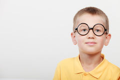 Portrait of serious kid little boy in glasses. Royalty Free Stock Photos