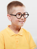 Portrait of serious kid little boy in glasses. Stock Images