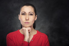Portrait of a serious lady Stock Images