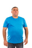Portrait of a serious  man. In t-shirt isolated on white background Royalty Free Stock Image