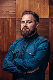Portrait of a serious man with beard royalty free stock photo