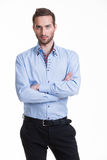 Portrait of serious man in blue shirt. Royalty Free Stock Image