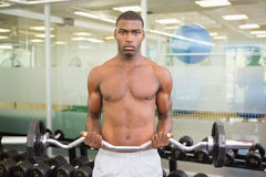Portrait of serious man lifting barbell in gym Stock Photography