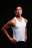 Portrait of a serious muscular asian man Royalty Free Stock Image