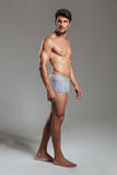 Portrait of a serious muscular man in underwear looking away Stock Images