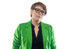 Portrait of serious pudgy woman with glasses Royalty Free Stock Photo