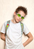 Portrait of serious, sad teenage. Portrait of serious teenage, indoor Stock Image