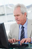 Portrait of a serious senior manager using a computer Royalty Free Stock Image