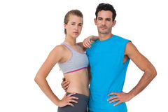 Portrait of a serious sporty young couple Royalty Free Stock Photography