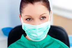 Portrait of a serious surgeon with mask Stock Photography