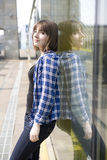 Portrait of serious teen girl. On the street Stock Images