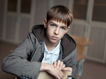 Portrait of serious teenage boy in class Royalty Free Stock Images