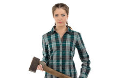 Portrait of serious woman with axe Royalty Free Stock Photos