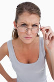 Portrait of a serious woman with glasses Stock Image