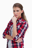 Portrait of a serious woman thinking Royalty Free Stock Image