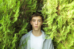 Portrait of a serious young man. Standing between two trees Royalty Free Stock Photo