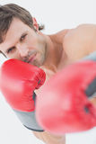 Portrait of a serious young man in red boxing gloves Stock Image