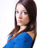Portrait of serious young pretty teen stock image