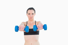 Portrait of a serious young woman with dumbbells Royalty Free Stock Photography