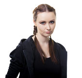 Portrait of a serious young woman on a white background. Portrait of a serious young beautiful woman on a white background royalty free stock photos
