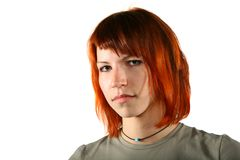 Portrait of seriuos woman with red hair Royalty Free Stock Image