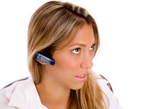 Portrait of service provider with bluetooth Royalty Free Stock Photography